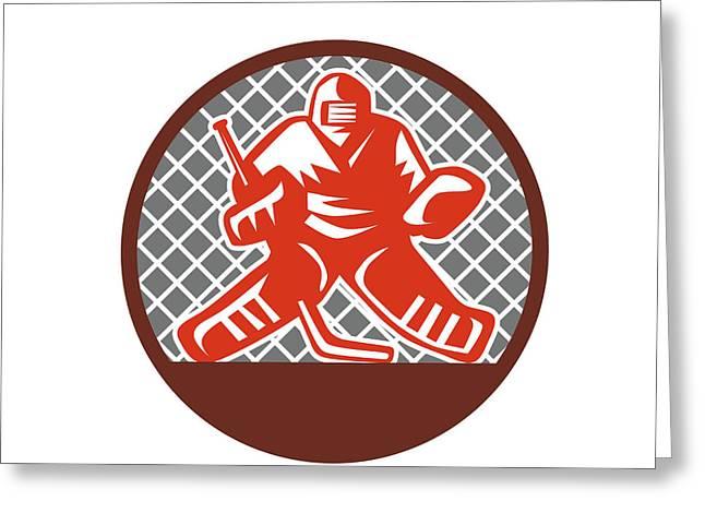 Ice Hockey Goalie Circle Retro Greeting Card by Aloysius Patrimonio