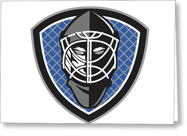 Ice Hockey Goalie Helmet Crest Retro Greeting Card by Aloysius Patrimonio