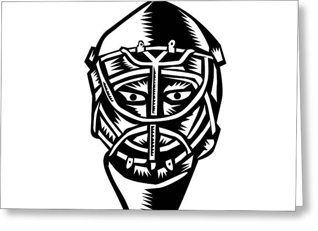Ice Hockey Goalie Helmet Woodcut Greeting Card
