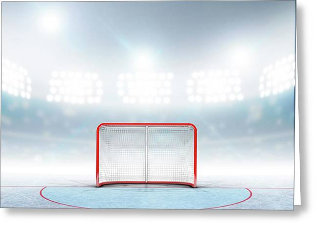 Ice Hockey Goals In Stadium Greeting Card by Allan Swart