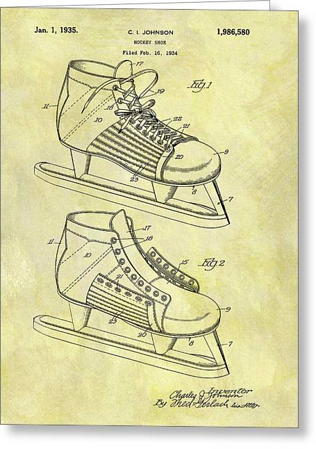 Ice Hockey Skates Patent Image Greeting Card