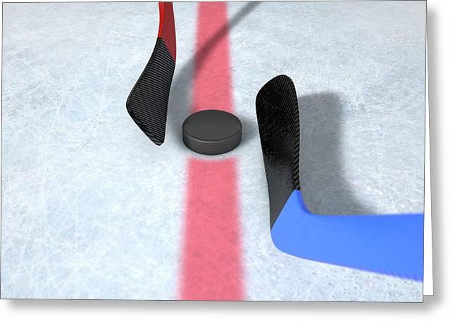 Ice Hockey Sticks And Puck Greeting Card