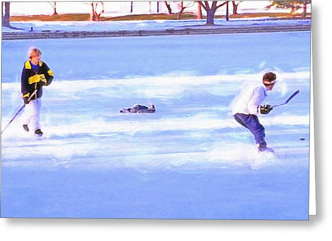 Ice Hockey - Two On Two Greeting Card by Steve Ohlsen