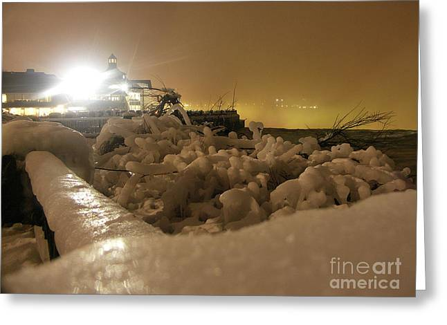 Ice In Sepia Greeting Card by Deborah Selib-Haig DMacq