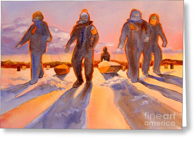 Ice Men Come Home Greeting Card by Kathy Braud