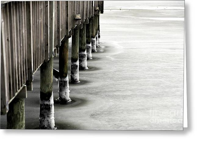 Ice On The Lbi Dock Greeting Card by John Rizzuto