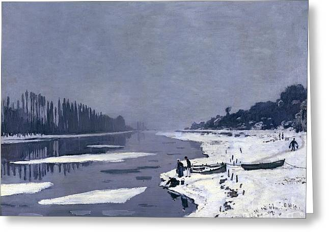 River. Clouds Greeting Cards - Ice on the Seine at Bougival Greeting Card by Claude Monet