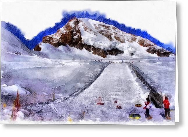 Ice Path On A Glacier Greeting Card
