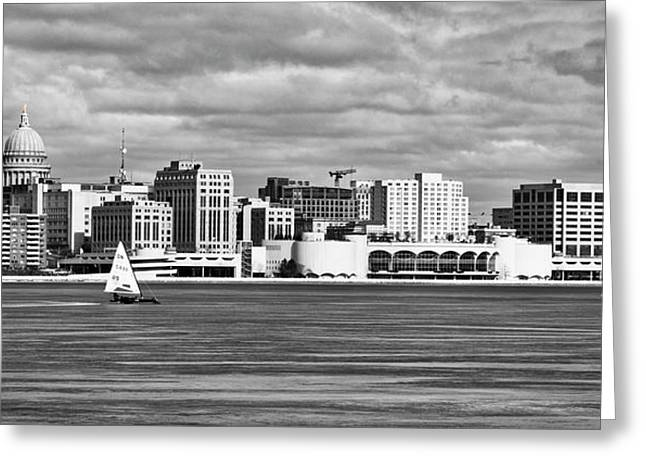 Ice Sailing Bw - Madison - Wisconsin Greeting Card by Steven Ralser