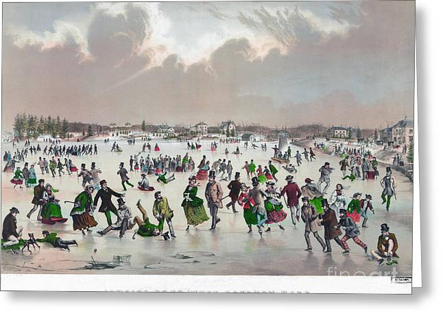Ice Skating, C1859 Greeting Card by Granger