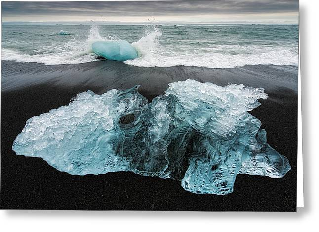 Greeting Card featuring the photograph Iceberg And Black Beach In Iceland by Matthias Hauser
