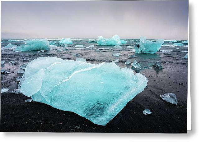 Greeting Card featuring the photograph Iceberg Pieces In Iceland Jokulsarlon by Matthias Hauser
