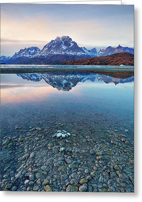 Icebergs And Mountains Of Torres Del Paine National Park Greeting Card by Phyllis Peterson