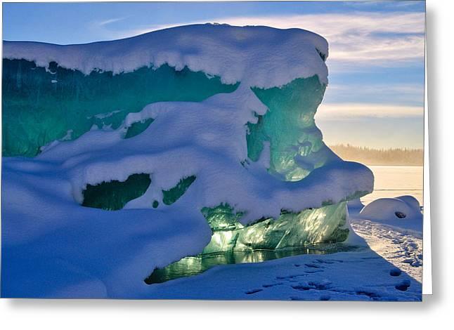 Iceberg's Glow - Mendenhall Glacier Greeting Card by Cathy Mahnke