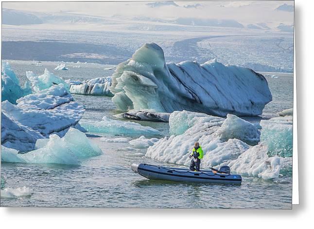 Icebergs On Jokulsarlon Lagoon In Iceland Greeting Card