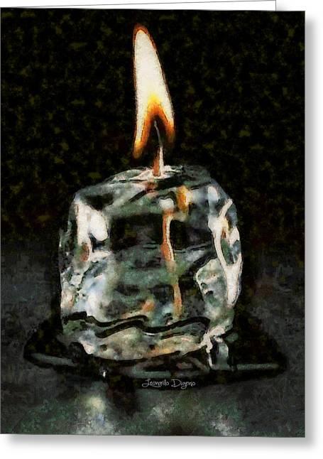 Iced Candle Greeting Card by Leonardo Digenio