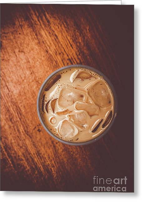 Iced Coffee Beverage On Copy Space Greeting Card