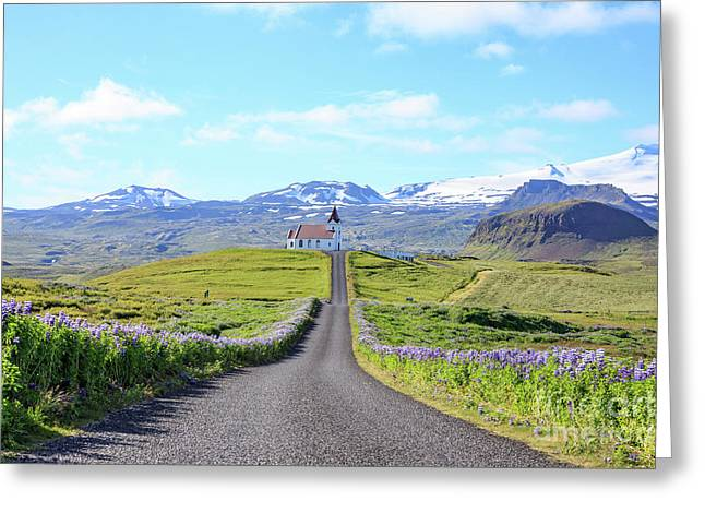 Iceland Church At The End Of A Long Road Greeting Card