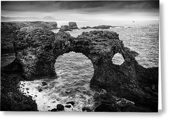 Iceland Cliff Coast Black And White Greeting Card