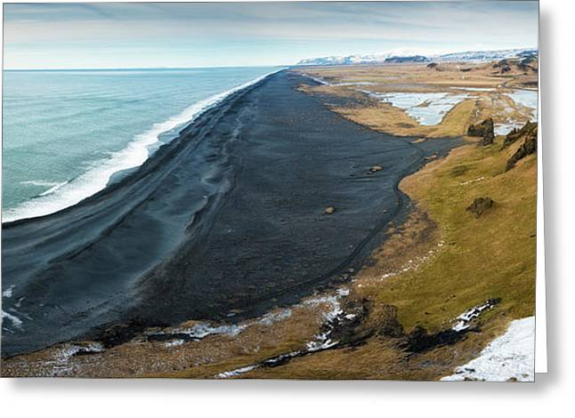 Iceland Coast And Black Beach Panorama Greeting Card
