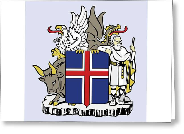 Greeting Card featuring the drawing Iceland Coat Of Arms by Movie Poster Prints