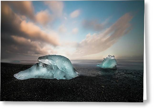 Iceland Glacial Ice Greeting Card by Larry Marshall