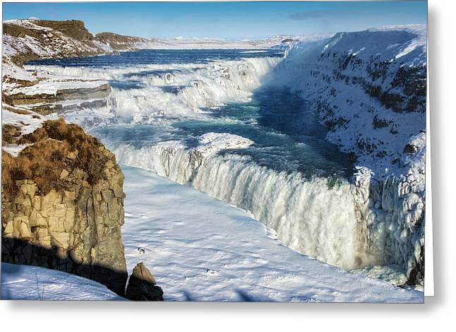 Greeting Card featuring the photograph Iceland Gullfoss Waterfall In Winter With Snow by Matthias Hauser