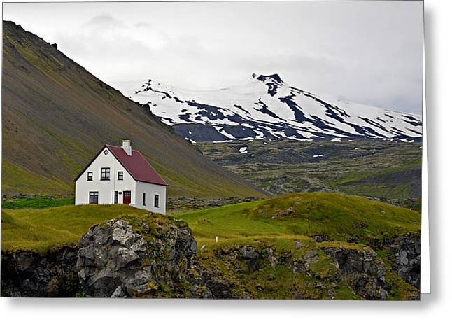Greeting Card featuring the photograph Iceland House And Glacier by Joe Bonita