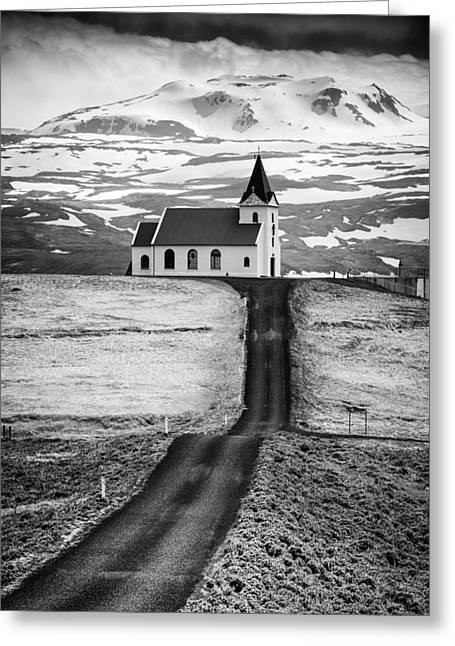 Iceland Ingjaldsholl Church And Mountains Black And White Greeting Card