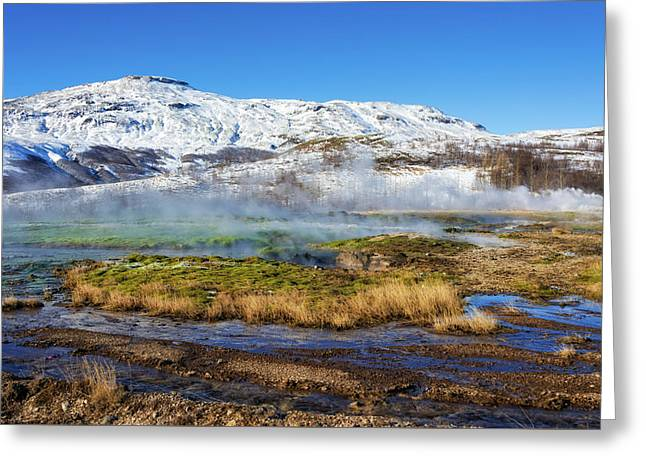 Greeting Card featuring the photograph Iceland Landscape Geothermal Area Haukadalur by Matthias Hauser