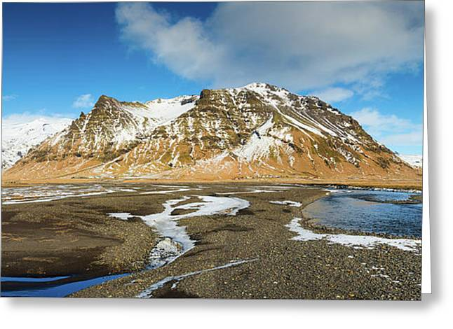 Greeting Card featuring the photograph Iceland Landscape Panorama Sudurland by Matthias Hauser