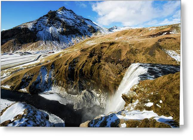 Greeting Card featuring the photograph Iceland Landscape With Skogafoss Waterfall by Matthias Hauser