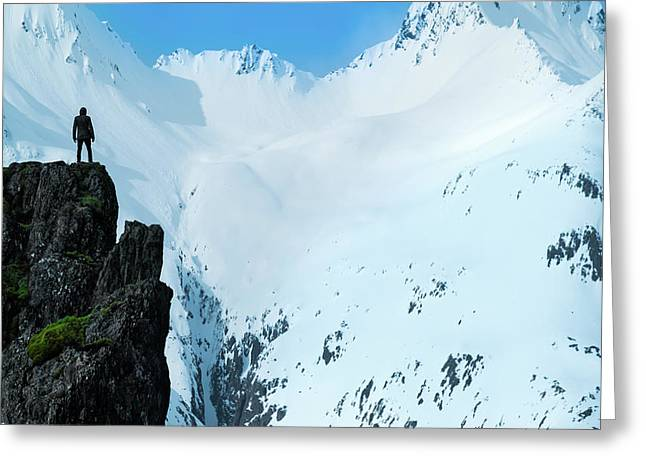 Iceland Snow Covered Mountains Greeting Card