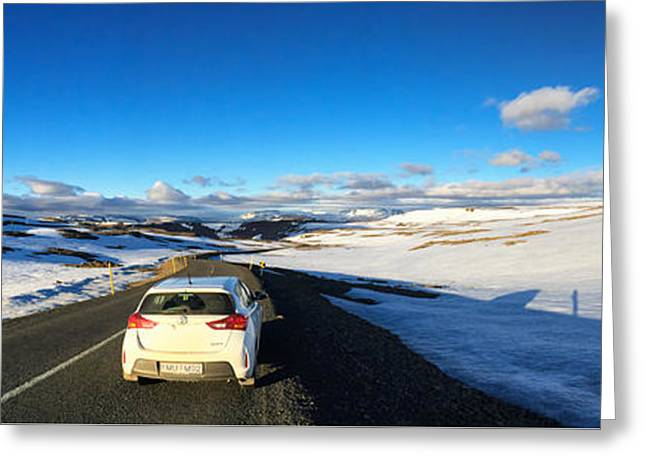 Iceland Travel - Snow Covered Mountain Pass In June Greeting Card