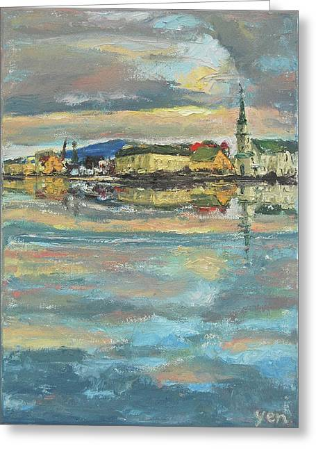 Greeting Card featuring the painting Icelandic 9 - Serene by Yen