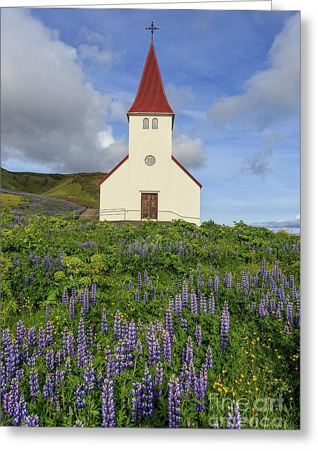Greeting Card featuring the photograph Icelandic Church Among The Fields Of Lupine by Edward Fielding
