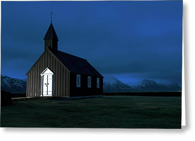 Greeting Card featuring the photograph Icelandic Church At Night by Dubi Roman