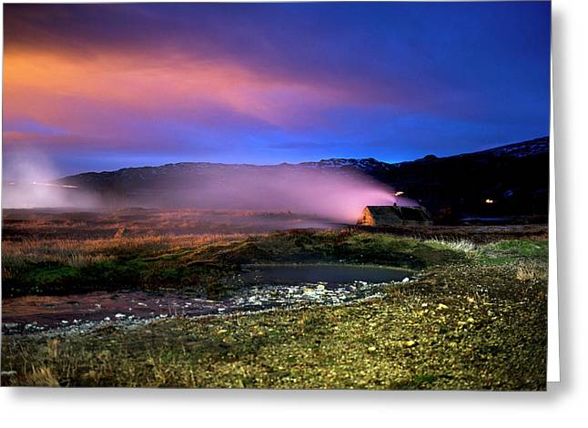 Greeting Card featuring the photograph Icelandic Geyser At Night by Dubi Roman