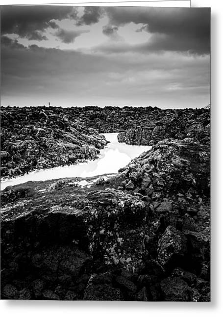 Icelandic Silica Stream In Black And White Greeting Card