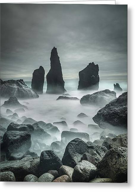 Icelandic Storm Beach And Sea Stacks. Greeting Card by Andy Astbury