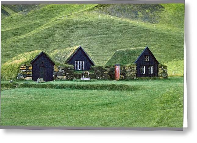Icelandic Turf Homes Greeting Card by Mario Carini