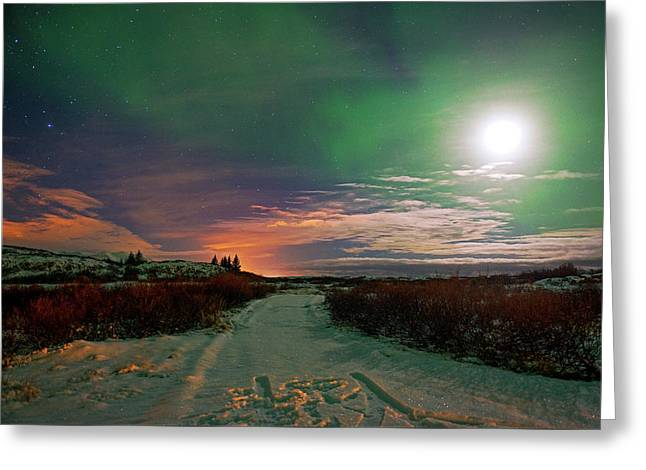 Greeting Card featuring the photograph Iceland's Landscape At Night by Dubi Roman