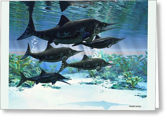 Ichthyosaur Greeting Card by Corey Ford