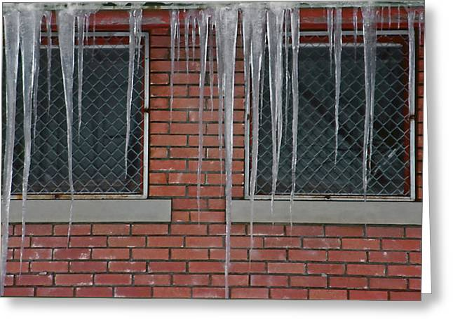 Icicles 2 - In Front Of Windows Off Red Brick Bldg. Greeting Card by Steve Ohlsen