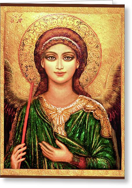 Icon Angel In Green Greeting Card