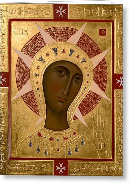 Icon Of Our Lady Of Filermo. Greeting Card by  Olga Shalamova