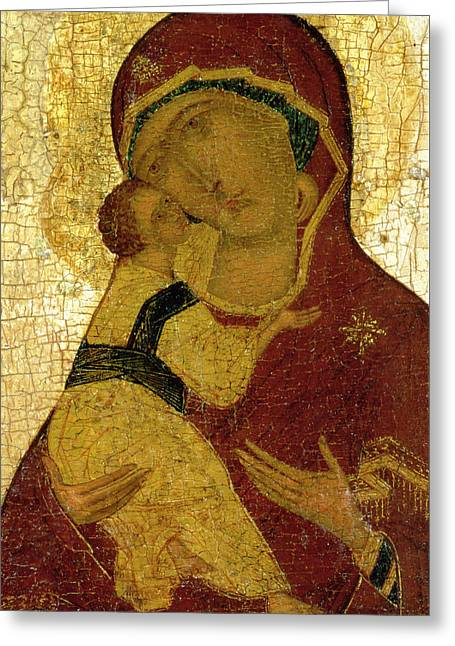 Icon Of The Virgin Of Vladimir Greeting Card by Moscow School