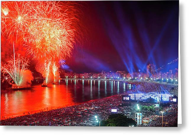 Iconic And Breath-taking Fireworks Display On Copacabana Beach,  Greeting Card