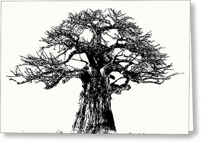 Iconic Baobab Tree In Black And White Greeting Card