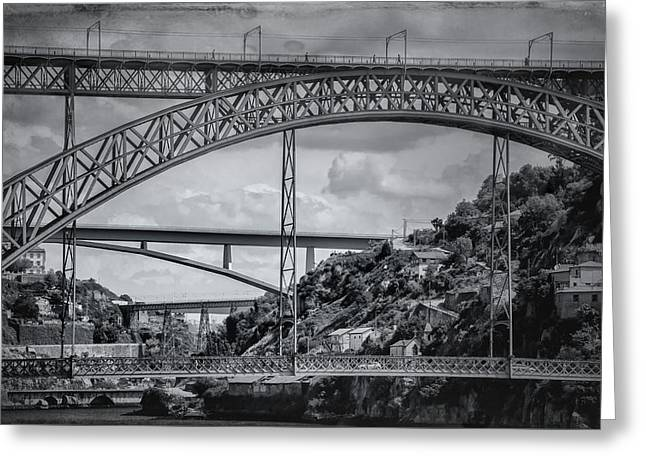 Iconic Bridges Of Porto In Black And White  Greeting Card